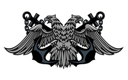 Fierce double headed Imperial eagle icon logo on crossed anchors with chains for heraldic design