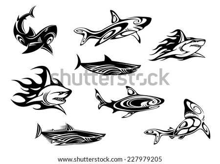 fierce shark icons swimming