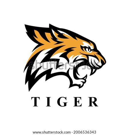 Fierce tiger head logo icon. Wild bengal cat vector illustration. Wildlife animal brand symbol. Stock photo ©