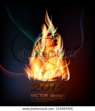 fiery background with snake