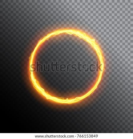 fiery circle round neon frame