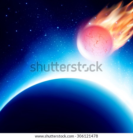 fiery comet in atmosphere view
