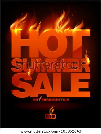 Fiery hot summer sale design template. Eps10 Vector.