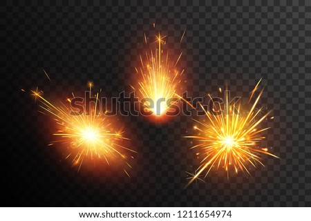 Fiery sparks collection. Christmas sparkler. Fiery sparks.  Firework effect. Star explosion.