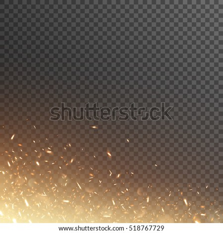 Stock Photo Fiery sparks. Glowing particles. Vector effect with transparency.