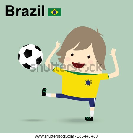 fifa world cup 2014 brazil national football team, businessman happy is playing soccer relax idea