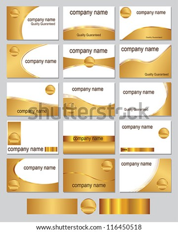Fifteen business card designs in gold metallic colours