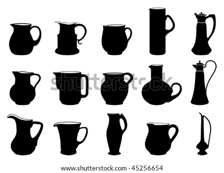 fifteen different jugs black and white silhouettes