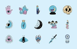 fifteen esoteric magic set icons