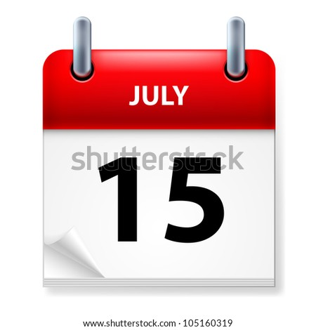 Fifteenth July in Calendar icon on white background