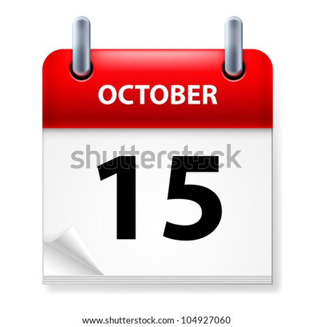 Fifteenth October in Calendar icon on white background