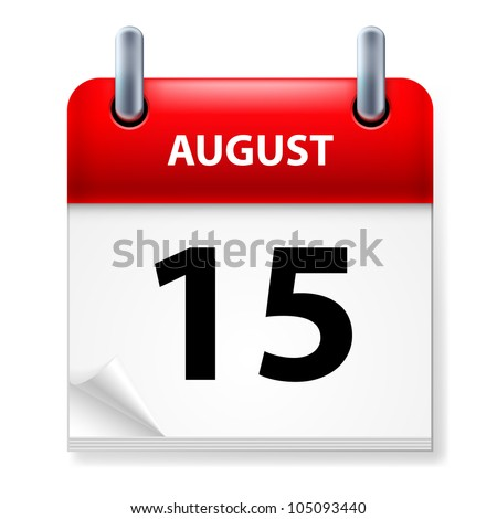 Fifteenth of August Calendar icon on white background