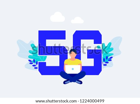 Fifth generation wireless 5g concept. Man with laptop sitting around the big letters 5G. Flat style. Trendy design. Vector illustration.