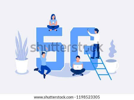 Fifth generation wireless 5g concept. People with mobile devices are sitting and standing on and around the big letters 5G. Flat style. Vector illustration.