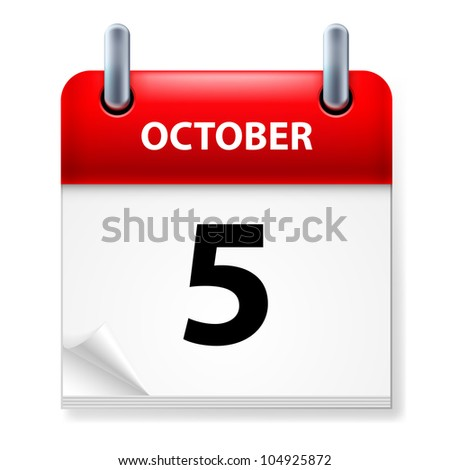 Fifth October in Calendar icon on white background