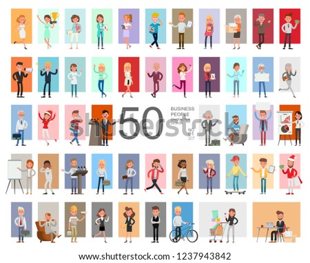 Fifty business people working character vector design. Presentation in various action with emotions, running, standing and walking.