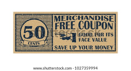 Fifty cents merchandise coupon. High detail grunge paper or cardboard. Vintage coupon. Retro coupon template. Vector illustration. Old style free discount coupon. Realistic vector illustration.