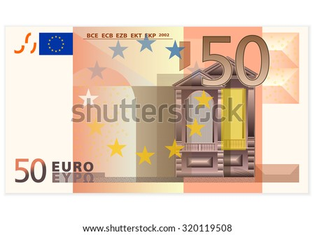 fifty euro banknote on a white