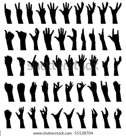 Fifty female hands gesturing black and white silhouettes