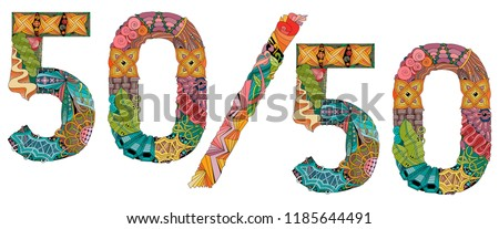Fifty-fifty. Vector decorative zentangle object for decoration