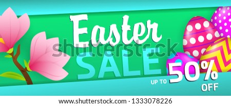Fifty percent off Easter sale banner design. Colored eggs and pink blossoms on blue and green background. Illustration can be used for adverts, leaflets, posters