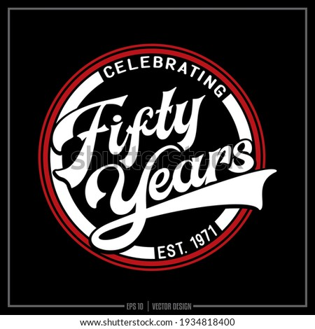 Fifty years red and white insignia, Celebrating 50 years, Fifty years, Birthday Foto stock ©