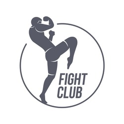 Fight club logo templates. Fitness, Aerobic, workout exercise in gym. Sport badges and labels. Black and white logo templates for your design. Vector illustration isolated on white background.