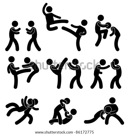 Fight Fighter Muay Thai Boxing Karate Taekwondo Wrestling Kick Punch Grab Throw People Icon Sign Symbol Pictogram