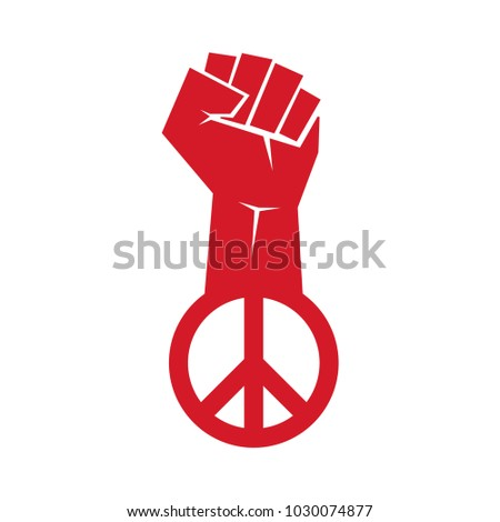 Fight for peace. Fist with peace symbol. Vector