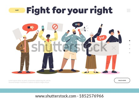 Fight for your rights landing page concept with protesting people group. Crowd with placards during demonstration or strike. Cartoon men and women at political meeting. Vector illustration stock photo
