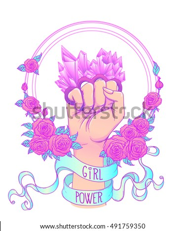 Fight like a girl. Woman's hand with crystal quartz brass knuckles. Fist raised up. Girl Power. Feminism concept. Realistic vector illustration in pastel goth colors isolated on white