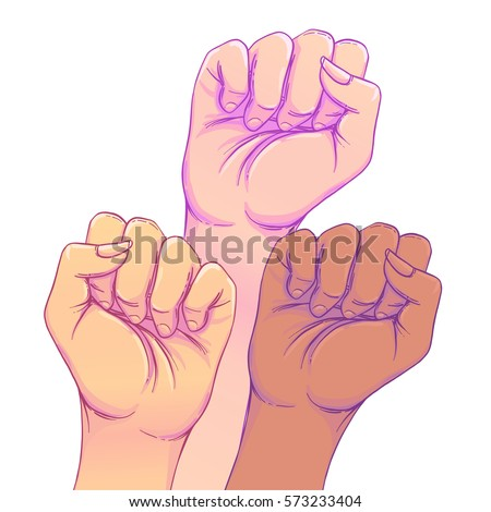 Fight like a girl. 3 Woman's hands with her fist raised up. Girl Power. Feminism concept. Realistic style vector illustration in pink  pastel goth colors. Sticker, patch graphic design.