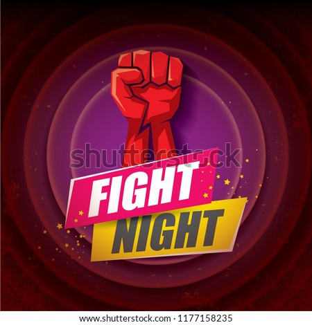 Fight night vector modern poster with text and strong fist. mma, wrestling or fight club emblem design template. fight label isolated on violet background