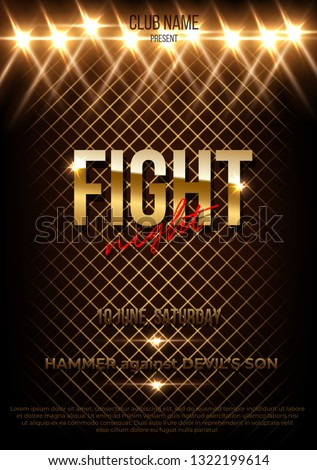 Fight night vector poster template with text space. MMA, wrestling, boxing banner layout with copyspace. Spotlights, projectors effect. Glossy, shiny, stylized lettering. Championship, competition