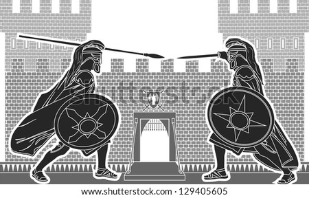 fight of two knights vector