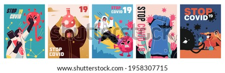 Fight with Coronavirus concept. Set of posters with illustrations of fighting with covid, corona virus. Disease campaign poster. Vector Photo stock ©