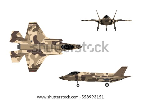 Fighter jet. War plane in flat style. Military aircraft in top, side, front view. Vector illustration