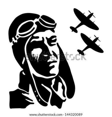 Fighter pilot watching his squadron on the sky Vintage vector illustration