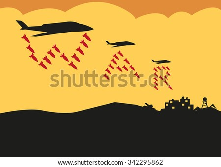 fighter planes drop bombs in a