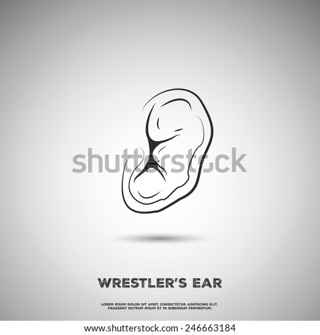 Fighter\'s broken ear. Combat sports illustration.