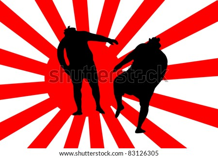 Fighters fight under the flag of Japan on the bottom