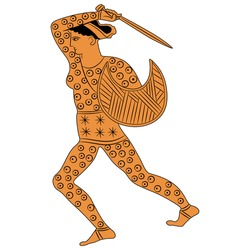 Fighting ancient Greek amazon woman with shield and sword. Vase painting style.