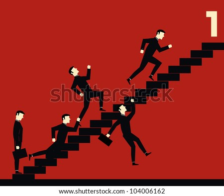 Fighting Businessman Stair One