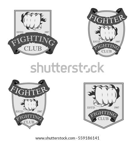 fighting club sport logo badge