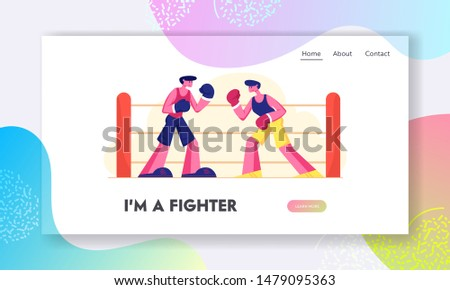 Fighting Competition Website Landing Page. Athletic Men in Gloves Boxing on Sports Ring. Male Characters Sportsmen Boxers Attacking and Defending Web Page Banner. Cartoon Flat Vector Illustration