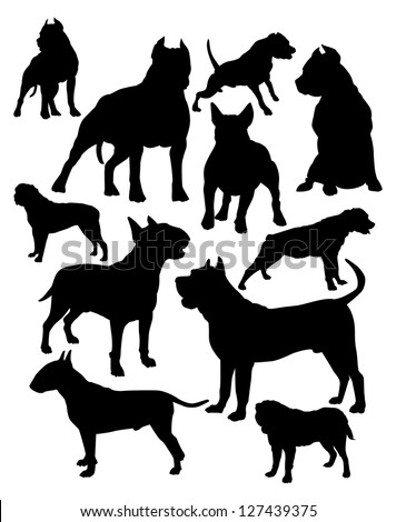 fighting dogs vector silhouettes