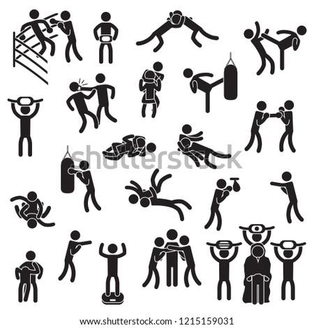 fighting icon set boxing