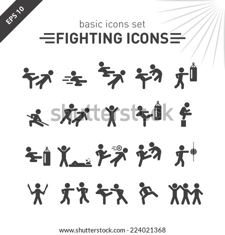Fighting icons set.