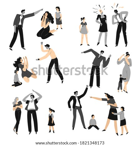 Fighting mother and father shouting and screaming, violent and brutal behavior of dad. Conflicts and misunderstanding between parents. Quarrels and offends, aggression and despair, vector in flat Foto stock ©