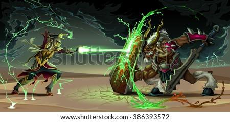 fighting scene between elf and